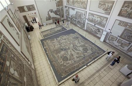 The 5th-century Yakto mosaic or Megalopsychia Hunt mosaic (C) is displayed at the Antakya Archaeology museum, also known as the Antakaya Mosaic museum, in Antakya, in the southern border province of Hatay, April 22, 2012. REUTERS/Murad Sezer