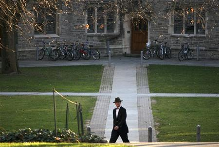A man walks on the campus of Princeton University in Princeton, New Jersey, November 30, 2009. REUTERS/Steve James