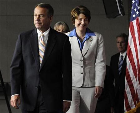 U.S. House Speaker John Boehner (R-OH) (L-R) leads fellow Republicans, including Rep. Cathy McMorris Rodgers (R-WA) and Rep. Kevin McCarthy (R-CA), onstage for a news conference about their proposed deficit-cutting plan, at the U.S. Capitol in Washington, July 19, 2011. REUTERS/Jonathan Ernst