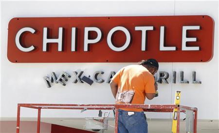 A workman installs a sign on a new Chipotle Mexican restaurant under construction in Burbank, California April 15, 2011. REUTERS/Fred Prouser