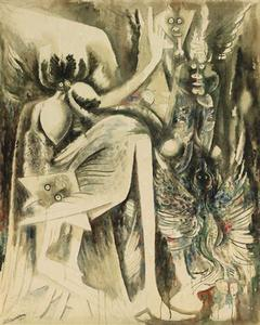 An undated handout photo shows Cuban Wifredo Lam's ''Idolo (Oya/Diviniti de l'Air et de la mort)'', to be auctioned at Sotheby's in New York on Wednesday evening with an estimated sale price of between $2 million to $3 million. Lam blends surrealism and Cuba's Santeria religion. Like Haiti's voodoo, Santeria is rooted in African Yoruba deities, such as Oya, the namesake of this 1944 painting. To match REUTERS/Courtesy Sotheby's/Handout