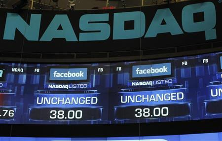 Monitors show the value of the Facebook, Inc. stock before the closing bell at the NASDAQ Marketsite in New York, May 18, 2012. REUTERS/Keith Bedford
