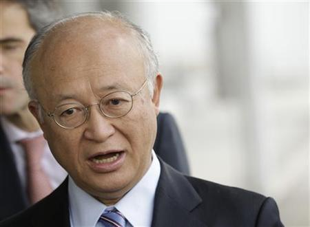 International Atomic Energy Agency (IAEA) Director General Yukiya Amano briefs the media before his trip to Tehran at the international airport in Vienna May 20, 2012. REUTERS/Leonhard Foeger