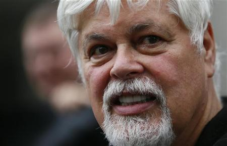 Environmentalist and founder of Sea Shepherd, Paul Watson talks to media and friends after he was released from prison in Frankfurt, May 21, 2012. A German court released Sea Shepherd marine conservationist Watson on bail after he was arrested at Frankfurt airport following a warrant by Costa Rica. REUTERS/Kai Pfaffenbach