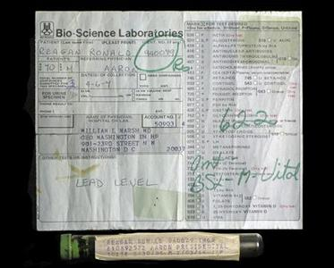 A vial of late U.S. President Ronald Reagan's blood and a lab slip are pictured in this undated publicity photograph. REUTERS/PFC Auctions/Handout