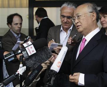 International Atomic Energy Agency (IAEA) Director General Yukiya Amano briefs the media after his trip to Tehran upon his arrival at the international airport in Vienna May 22, 2012. REUTERS/Leonhard Foeger