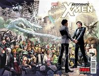 "Artwork from the cover of Marvel Comics #51 is shown in this undated publicity photograph released to Reuters May 22, 2012. Marvel comic book crime fighters X-Men have put down their weapons and picked up wedding rings for the first same-sex marriage in the superhero world, set for June. Marvel on Tuesday said Jean-Paul Beaubier, aka Northstar, a Canadian with piercing blue eyes and silver-streaked black hair who can move and fly at superhuman speeds, will propose to his longtime boyfriend Kyle Jinadu in the issue, ""Astonishing X-Men #50,"" due on sale May 23. The pair will marry in the next issue of ""Astonishing X-Men #51,"" on sale June 20, and some comic book retailers will be hosting wedding parties on that day, Marvel said. REUTERS/Marvel Comics/Handout"