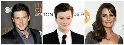 Actors Cory Monteith (L), Chris Colfer (C) and Lea Michele are seen in this July 14, 2011 combination photo. REUTERS/Staff