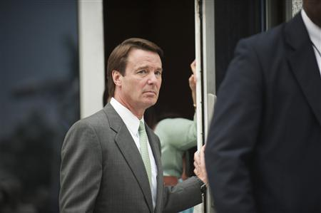 Former U.S. senator John Edwards leaves the federal courthouse in Greensboro, North Carolina May 22, 2012. A North Carolina jury on Tuesday finished its third day of deliberations on whether Edwards committed a crime as he sought to hide his affair during his 2008 White House run. REUTERS/Davis Turner