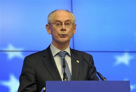 European Council President Herman Van Rompuy holds a news conference after an informal EU leaders summit in Brussels May 24, 2012. EU leaders discussed ways to revive their economies on Wednesday night, with growth and jobs on the agenda along with the situation in Greece. REUTERS-Laurent Dubrule