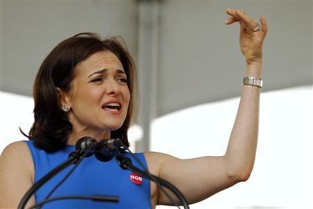 Sheryl Sandberg, Facebook's chief operating officer, speaks during Class Day ceremonies at Harvard Business School in Allston, Massachusetts May 23, 2012. REUTERS/Brian Snyder