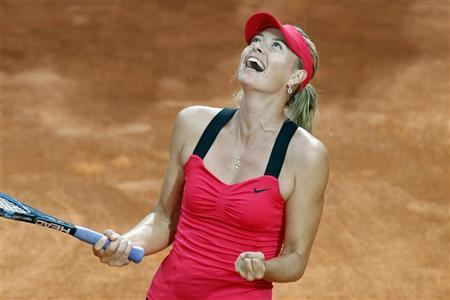 Maria Sharapova of Russia celebrates after defeating Li Na of China in their final match at the Rome Masters tennis tournament May 20, 2012. REUTERS/Giampiero Sposito