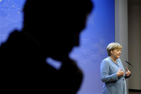 German Chancellor Angela Merkel briefs the media after an informal European Union leaders summit in Brussels May 24, 2012. REUTERS/Ezequiel Scagnetti