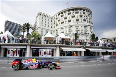 Red Bull F1 Formula One driver Mark Webber of Australia drives during the second practice session during the Monaco F1 Grand Prix May 24, 2012. REUTERS/Olivier Anrigo