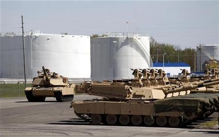 Tanks on display during a tour of the Joint Systems Manufacturing Center, Lima Army Tank Plant, in Lima, Ohio, April 23, 2012. REUTERS/Matt Sullivan