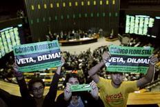 Ambientalistas protestam contra a adoção do novo Código Florestal, durante uma votação na Câmara dos Deputados em Brasília, 25 de abril de 2012. REUTERS/Ueslei Marcelino