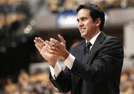 Miami Heat head coach Erik Spoelstra directs his team against the Indiana Pacers during the secondquarter in Game 6 of their NBA Eastern Conference second round basketball playoff series in Indianapolis, Indiana May 24, 2012. REUTERS/Brent Smith