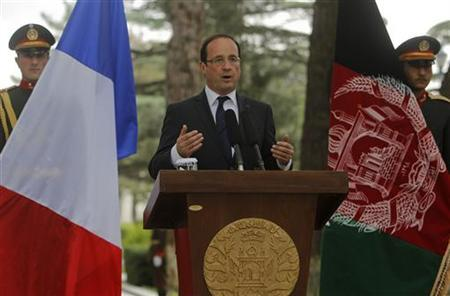 French President Francois Hollande speaks during a news conference in Kabul May 25, 2012. REUTERS/Omar Sobhani