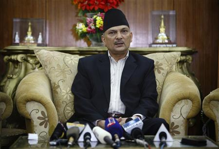 Nepalese Prime Minister Baburam Bhattarai addresses the nation from his official residence to declare fresh elections for November 22, 2012 for the Himalayan republic after political parties failed to finalize the new constitution, in Kathmandu May 28, 2012. REUTERS/Navesh Chitrakar