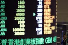 Электронное табло с рыночными котировками на Гонконгской фондовой бирже, 15 декабря 2011 года. Азиатские фондовые рынки выросли благодаря ожиданиям новой программы стимулирования экономики в Китае. REUTERS/Tyrone Siu