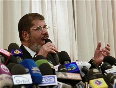 Presidential candidate Mohamed Mursi speaks during a news conference in Cairo May 29, 2012. REUTERS/Asmaa Waguih