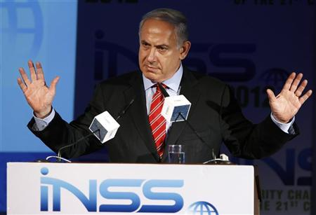 Israel's Prime Minister Benjamin Netanyahu gestures as he speaks at the annual Institute for National Security Studies (INSS) conference in Tel Aviv May 29, 2012. REUTERS/Amir Cohen
