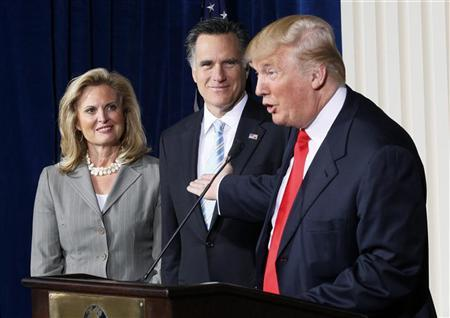 Businessman and real estate developer Donald Trump (R) endorses Republican presidential candidate and former Massachusetts Governor Mitt Romney's candidacy for president as Romney and his wife Ann look on at the Trump Hotel in Las Vegas, Nevada February 2, 2012. REUTERS/Rick Wilking