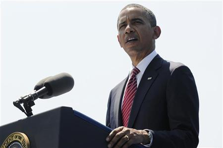 U.S. President Barack Obama delivers remarks during an observance of the 50th anniversary of the Vietnam War, at the Vietnam Veterans Memorial wall in Washington, May 28, 2012. REUTERS/Jonathan Ernst