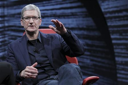 Apple CEO Tim Cook is pictured at the All Things Digital conference in Los Angeles in this May 29, 2012 handout photo. REUTERS/Asa Mathat/All Things Digital/Handout