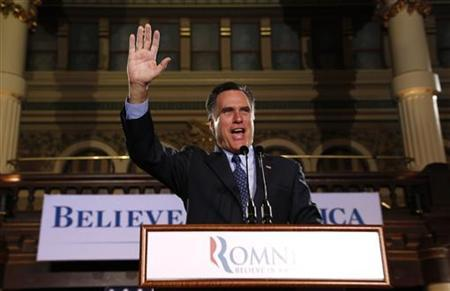 U.S. Republican presidential candidate and former Governor of Massachusetts Mitt Romney addresses supporters during his Wisconsin and Maryland primary night rally in Milwaukee, Wisconsin, April 3, 2012. REUTERS/Darren Hauck