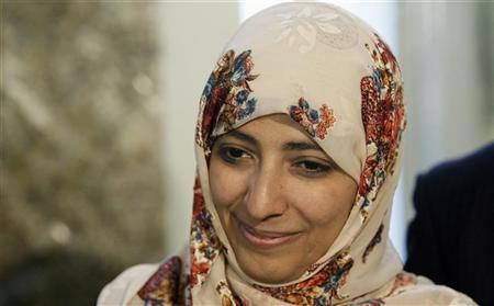 Nobel Peace Prize winner Tawakul Karman of Yemen attends a meeting in Rome, in this February 6, 2012 file photo. REUTERS/Remo Casilli