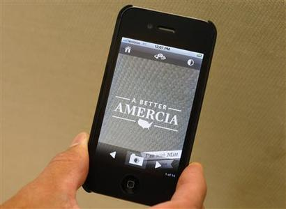 A Mitt Romney campaign iPhone app is seen here, with the word ''America'' misspelled in New York, May 30, 2012. Romney's presidential campaign misspelled the word ''America'' on a new iPhone app, the phrase ''A Better America'' is misspelled ''A Better Amercia.'' REUTERS/Brendan McDermid