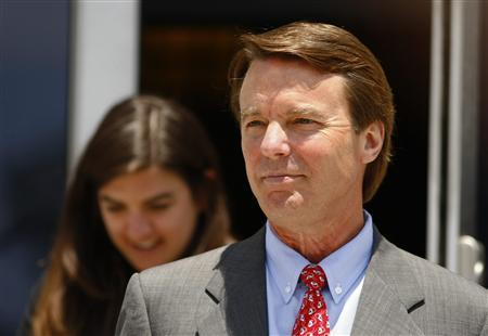 Former U.S. Senator John Edwards leaves the federal court house in Greensboro, North Carolina May 30, 2012. A North Carolina jury on Wednesday commenced its eighth day of deliberations into whether former U.S. Senator John Edwards violated federal election laws while trying to conceal his pregnant mistress during his 2008 presidential campaign. REUTERS/Chris Keane