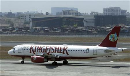 A Kingfisher Airlines aircraft taxis on the tarmac at Mumbai's domestic airport March 20, 2012. REUTERS/Vivek Prakash/Files
