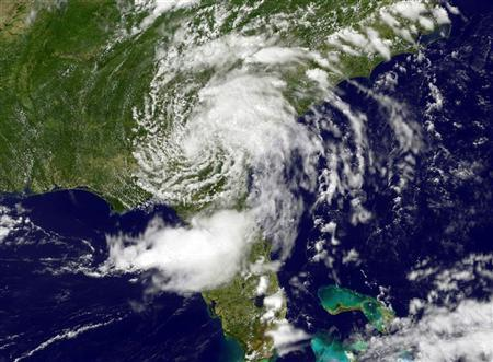 Tropical Depression Beryl is seen in this NASA handout satellite image dated May 29, 2012. REUTERS/NASA/NOAA GOES Project/Handout