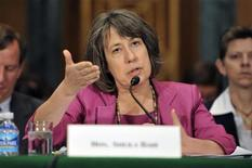 Sheila Bair gestures as she testifies before the Senate Banking Committee on Capitol Hill in Washington, June 30, 2011. REUTERS/Jonathan Ernst