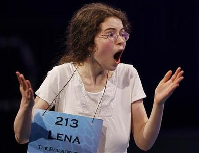 Lena Greenberg of Philadelphia, Pennsylvania celebrates spelling her word correctly, and advancing to the final round, during the Scripps National Spelling Bee semi-finals May 31, 2012 at National Harbor, Maryland. REUTERS/Gary Cameron