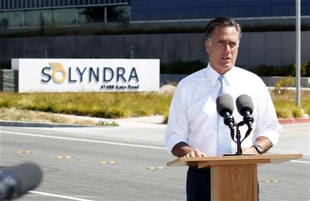 Republican U.S. presidential candidate and former Massachusetts Governor Mitt Romney speaks at the former Solyndra headquarters and factory in Fremont, California, May 31, 2012. REUTERS/Beck Diefenbach