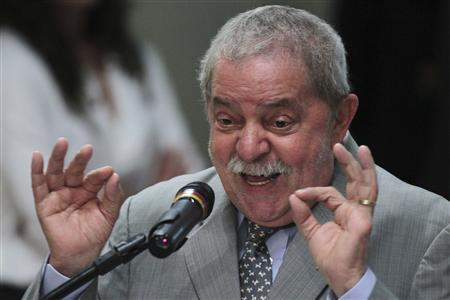 Brazil's former President Luiz Inacio Lula da Silva speaks during the fifth Ministerial Forum for Development in Brasilia May 30, 2012. REUTERS / Ueslei Marcelino