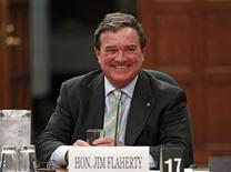 Canada's Finance Minister Jim Flaherty waits to testify before the Commons finance committee on Parliament Hill in Ottawa May 15, 2012. REUTERS/Chris Wattie