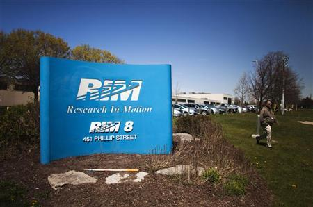 A man walks out of the Blackberry maker's Research in Motion RIM campus in Waterloo April 18, 2012. REUTERS/Mark Blinch