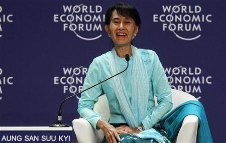 Myanmar's pro-democracy leader Aung San Suu Kyi smiles during the ''One-on-One Conversation with a Leader'' event as part of the World Economic Forum on East Asia at a hotel in Bangkok June 1, 2012. REUTERS/Chaiwat Subprasom