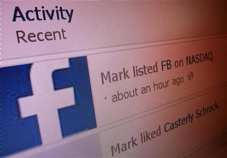 Recent activity lists ''Mark listed FB on NASDAQ'' in this image taken from Mark Zuckerberg's Facebook page on May 18, 2012. REUTERS/Staff