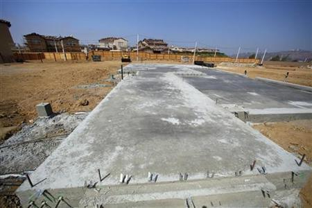 The foundation of a new home is shown in a new subdivision under construction in Carlsbad, California September 19, 2011.REUTERS/Mike Blake