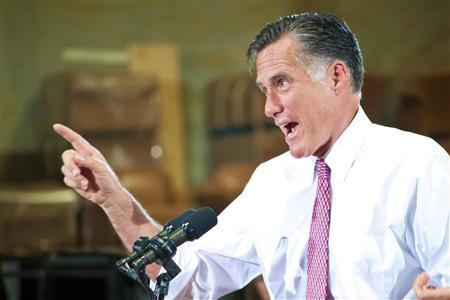 U.S. Republican presidential candidate Mitt Romney addresses supporters during a campaign rally at a local business in Las Vegas, Nevada May 29, 2012. REUTERS/Christopher DeVargas/Las Vegas Sun