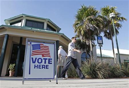 Voters in the Florida Republican presidential primary are shown at a polling place in Sugar Sand Park in Boca Raton, Florida, January 31, 2012. REUTERS/Joe Skipper