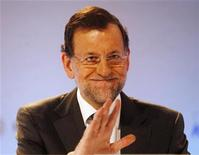 "Spain's Prime Minister Mariano Rajoy gestures during the XXVIII Meeting of the Economic Circle ""Cercle D'economia"" in Sitges, near Barcelona June 2, 2012. REUTERS/Gustau Nacarino"
