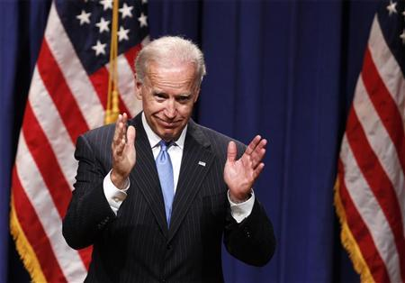 U.S. Vice President Joe Biden gestures after giving a speech regarding the Obama administration's foreign policy record at New York University in New York, April 26, 2012. REUTERS/Lucas Jackson