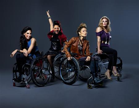 Stars of the new Sundance Channel reality series ''Push Girls'' who are all paraplegics (L-R) Mia Schaikewitz, Auti Angel, Angela Rockwood and Tiphany Adams are shown in this undated publicity photograph.