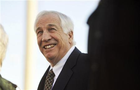 Jerry Sandusky, former Penn State football defensive coordinator, arrives for a hearing at the Centre County Courthouse in Bellefonte, Pennsylvania April 5, 2012. REUTERS/Pat Little
